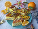 Postre con pasta de jugo de naranja